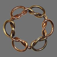 14k Art Deco Rose & Yellow Gold Knot Circle Pin