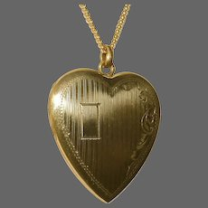 Gold Filled Engraved Heart Locket & Chain