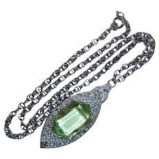 Art Deco Rhodium Plate Filigree Necklace w Peridot Glass Jewel