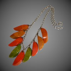 Chunky Bakelite Drops Bib Necklace