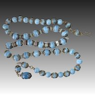 Blue Glass Beads Necklace w Rhinestone & Filigree Caps