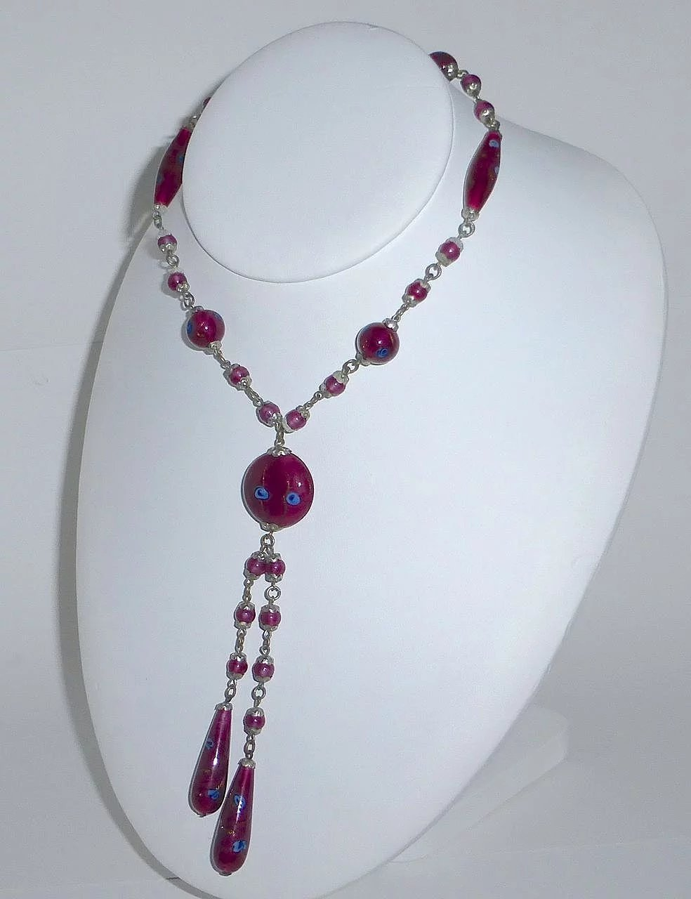 Rare Cranberry Venetian Glass Bead Necklace Bejewelled