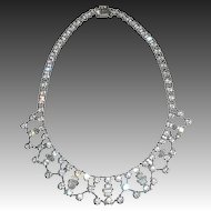 Sparkling Faceted Paste Silver Tone Bib Necklace