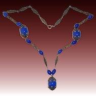 Art Deco Brass Flapper Necklace w Blue Art Glass Beads