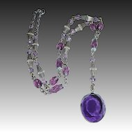 Art Deco Y Necklace Purple Glass Beads & Jewel