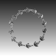 Denmark Designer Sterling Dimensional Grape Cluster Necklace