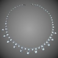 Sterling Rhodium Plate Necklace Prong Set Crystals