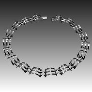 Sterling Raised & Pierced Sculptural Link Choker Necklace