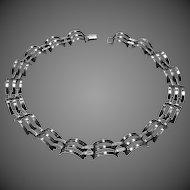 Sterling Raised & Pierced Sculptural Link Choker Necklace