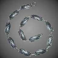 Sterling Silver Domed Swirl Link Necklace c1940s