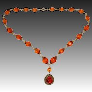 Amber Cut Glass Bead Necklace with Pendant