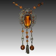 Antique Amber Glass Jewels Brass & Bead Long Necklace