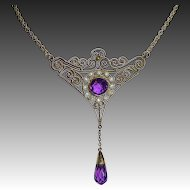 Art Deco Gilt Brass Filigree Necklace Amethyst Glass Jewels