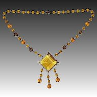 Czech Art Deco Amber Cut Glass Jewel Drop Necklace