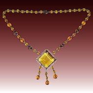 Czech Art Deco Amber Cut Glass Jewel Drop Necklace
