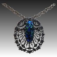 Peacock Eye Foil Glass Jewel Silvertone Filigree Pin/Pendant