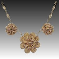 Gilt Sterling Handcrafted Filigree Three Flower Necklace