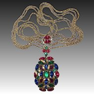 Best Art Deco Long Multi-Jewel Multi-Chain Necklace