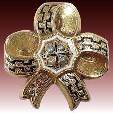 14k Victorian Stylized Bow Pin w Seed Pearls & Enamel