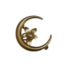Antique Victorian 14k Honeymoon Crescent Pin Flower FWP