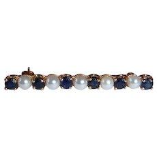 14k Sapphire & Cultured Pearl Bar Pin