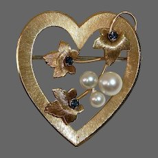 Krementz Gold Filled Heart Pin Cultured Pearls & Sapphire Blue Jewels