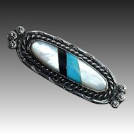 Native American Sterling Pin Turquoise Onyx Mother of Pearl Inlay