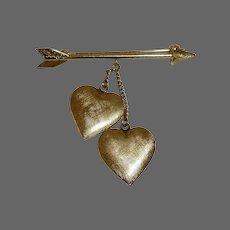 Tiffany 14k Pin Arrow & Double Hanging Hearts