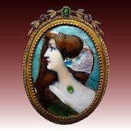 Antique Victorian Enamel Pin Elegant Woman Portrait