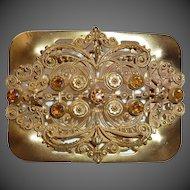 Antique Victorian Gilt Brass Filigree & Embossed Sash Ornament