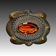 Antique Victorian Lg Brass Sash Ornament Brooch Amber Jewel