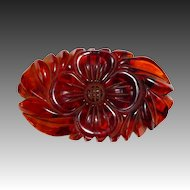 Art Deco Heavily Carved Large Iced Tea Bakelite Pin