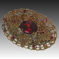 Victorian Revival Brass Filigree Pin Purple Glass Jewels