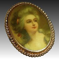 Victorian Revival Celluloid Cameo Brass Frame