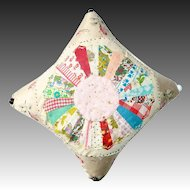 Handmade Vintage Quilted Circle Pin Cushion