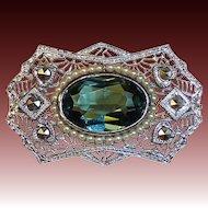 Art Deco Pin Rhodium Finish Filigree Tourmaline Glass Jewel