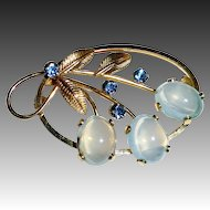 Van Dell Gold Filled Moonstone Glass Pin