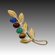 Uncas Gold Filled Leafy Sprig Pin w Carved Stone Scarabs
