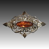Victorian Revival Gilt Brass Filigree Pin w Faceted Amber Jewel