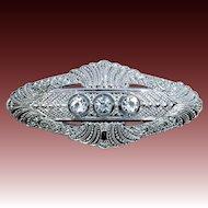 Fine Quality Edwardian Rhodium Plate & Crystal Pin