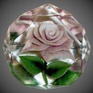 Reverse Carved Lucite Lavender Rose Pin