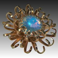 Opalescent Rivoli Rhinestone Sarah Coventry Chrysanthemum Pin
