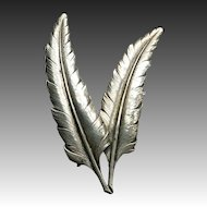Guglielmo Cini Sterling Silver Twin Feathers Pin