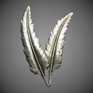 Guglielmo Cini Sterling Silver Twin Feathers Pin