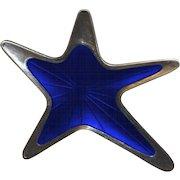 Meka Denmark Sterling Cobalt Enamel Mod Biomorphic Pin