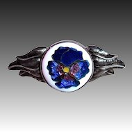 Handcrafted Sterling Cloisonne Enamel Pansy Pin