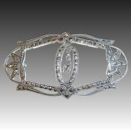 Sparkling Art Deco Sterling Silver & Marcasite O Initial Pin