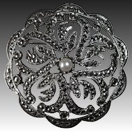 Sterling Marcasite Pierced Design Pin