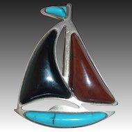 Sterling Sailboat Pin Turquoise Onyx Jasper Sails