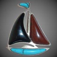 Sterling Sailboat Pin Turquoise Onyx Jasper Sails